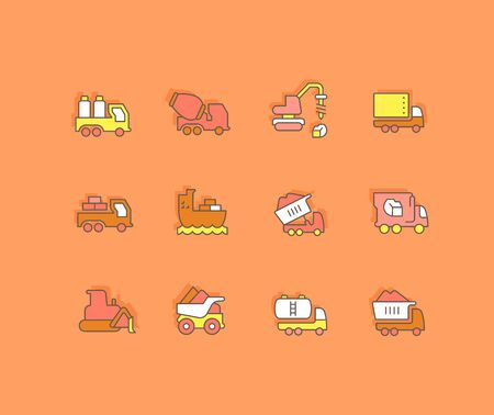 Collection simple icons of construction transport on an orange background. Modern color signs for websites, mobile apps, and concepts