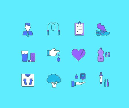 Collection simple icons of diabet on a blue background. Modern color signs for websites, mobile apps, and concepts