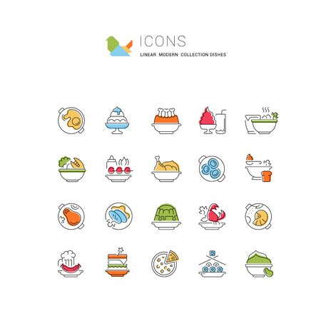 Set of vector line icons, sign and symbols of dishes for modern concepts, web and apps. Collection of infographics elements, logos and pictograms.