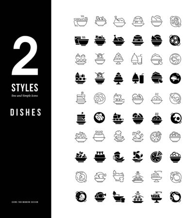 Collection simple and linear icons of dishes on a white background. Modern black and white signs for websites, mobile apps, and concepts