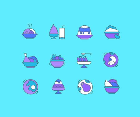 Collection simple icons of dishes on a blue background. Modern color signs for websites, mobile apps, and concepts