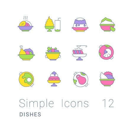 Collection simple icons of dishes on a white background. Modern color signs for websites, mobile apps, and concepts Ilustracja
