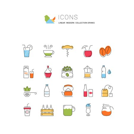 Set vector line icons drinks and alcohol tea, beer, coffee, wine, water, milk and champagne in flat design with elements for mobile concepts and web. Collection modern infographic logo and pictogram. Stock Illustratie