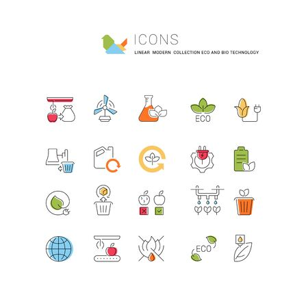 Set of vector line icons of eco and bio technology for modern concepts, web and apps.