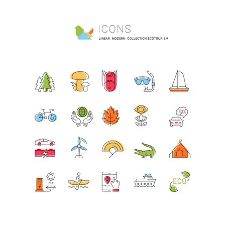 Set vector line icons in flat design eco, ecotourism and recycle with elements for mobile concepts and web apps. Collection modern infographic logo and pictogram.