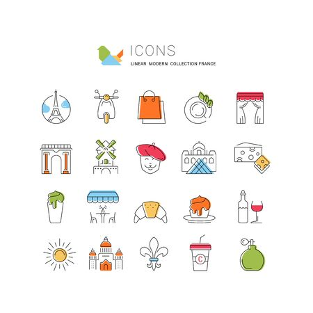 Set vector line icons in flat design France, Paris and Europe with elements for mobile concepts and web apps. Collection modern infographic logo and pictogram. 스톡 콘텐츠 - 149899456