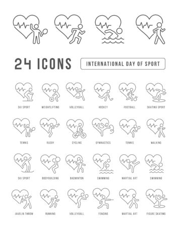Set vector line thin icons of international day of sport in linear design for mobile concepts and web apps. Collection modern infographic pictogram and signs.