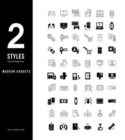 Collection simple and linear icons of modern gadgets on a white background. Modern black and white signs for websites, mobile apps, and concepts Illustration