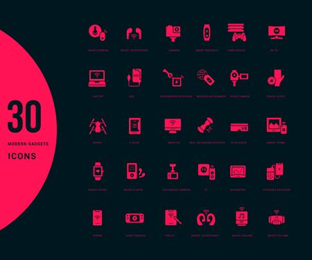 Collection simple icons of modern gadgets on a black background. Modern red signs for websites, mobile apps, and concepts