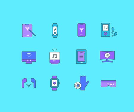 Collection simple icons of modern gadgets on a blue background. Modern color signs for websites, mobile apps, and concepts Illustration