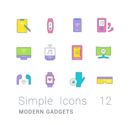 Collection simple icons of modern gadgets on a white background. Modern color signs for websites, mobile apps, and concepts
