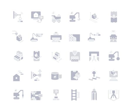 Collection simple icons of construction technology on a white background. Modern gray shadows signs for websites, mobile apps, and concepts
