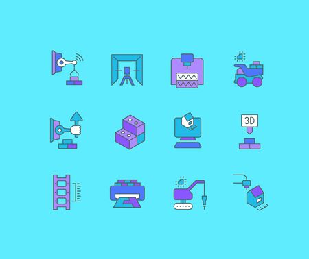 Collection simple icons of construction technology on a blue background. Modern color signs for websites, mobile apps, and concepts Illustration
