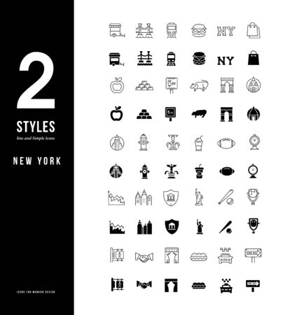 Collection simple and linear icons of new york on a white background. Modern black and white signs for websites, mobile apps, and concepts Vector Illustration