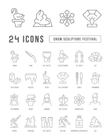 Set vector line thin icons of snow sculpture festival in linear design for mobile concepts and web apps. Collection modern infographic pictogram and signs. Illustration