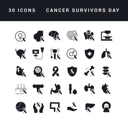 Collection of vector black and white icons of cancer survivors day in simple design for mobile concepts, web and applications. Set modern logos and pictograms.
