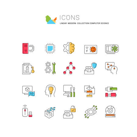 Set of vector line icons of computer science for modern concepts, web and apps.