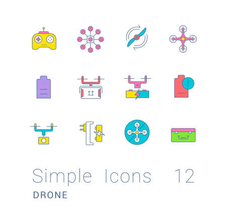 Collection simple icons of drone on a white background. Modern color signs for websites, mobile apps, and concepts
