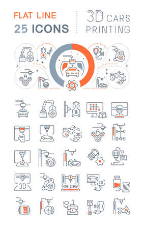 Set of vector line icons of 3D Cars Printing for modern concepts, web and apps. Vettoriali