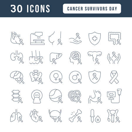 Set vector line thin icons of cancer survivors day in linear design for mobile concepts and web apps. Collection modern infographic pictogram and signs.