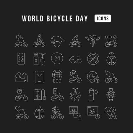 Set vector line thin icons of world bicycle day in linear design for mobile concepts and web apps. Collection modern infographic pictogram and signs. 矢量图像