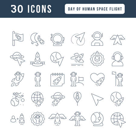 Set vector line thin icons of day of human space flight in linear design for mobile concepts and web apps. Collection modern infographic pictogram and signs.