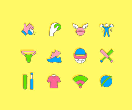 Collection simple icons of cricket on a yellow background. Modern color signs for websites, mobile apps, and concepts