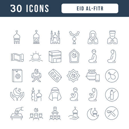 Set vector line thin icons of Eid Al-Fitr in linear design for mobile concepts and web apps. Collection modern infographic pictogram and signs.