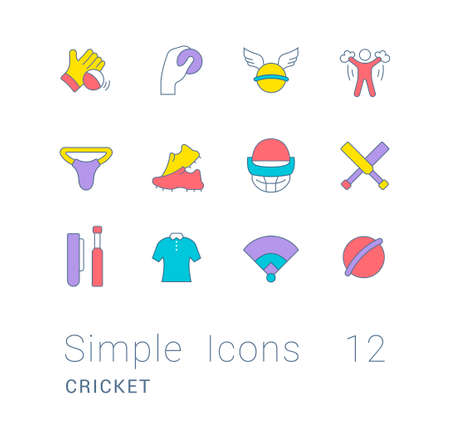 Collection simple icons of cricket on a white background. Modern color signs for websites, mobile apps, and concepts 矢量图像