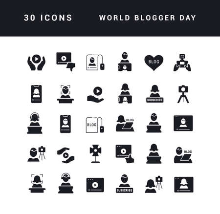 Collection of vector black and white icons of world blogger day in simple design for mobile concepts, web and applications. Set modern logos and pictograms.