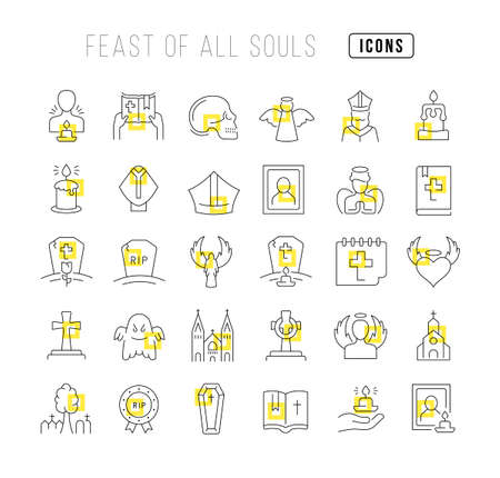 Set vector line thin icons of feast of all souls in linear design for mobile concepts and web apps. Collection modern infographic pictogram and signs. 矢量图像