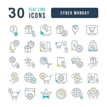 Set vector line thin icons of cyber monday in linear design for mobile concepts and web apps. Collection modern infographic pictogram and signs. 矢量图像