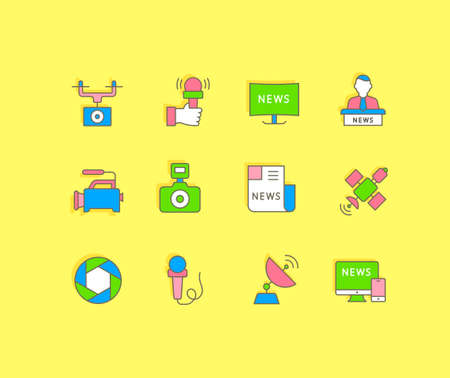 Collection simple icons of news on a yellow background. Modern color signs for websites, mobile apps, and concepts
