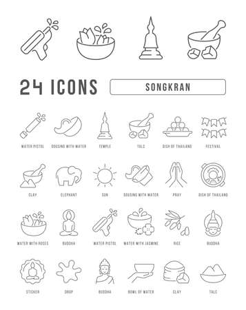 Set vector line thin icons of songkran in linear design for mobile concepts and web apps. Collection modern infographic pictogram and signs. 矢量图像