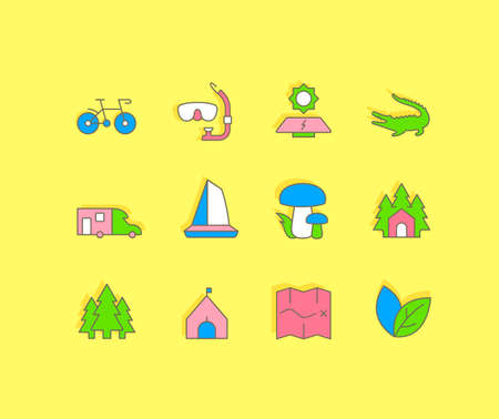 Collection simple icons of ecotourism on a yellow background. Modern color signs for websites, mobile apps, and concepts