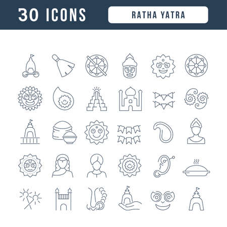 Set vector line thin icons of ratha yatra in linear design for mobile concepts and web apps. Collection modern infographic pictogram and signs.