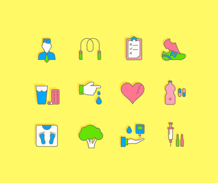 Collection simple icons of diabet on a yellow background. Modern color signs for websites, mobile apps, and concepts