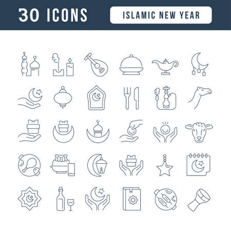 Set vector line thin icons of islamic new year in linear design for mobile concepts and web apps. Collection modern infographic pictogram and signs.