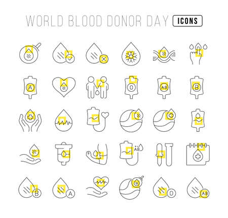Set vector line thin icons of world blood donor day in linear design for mobile concepts and web apps. Collection modern infographic pictogram and signs.