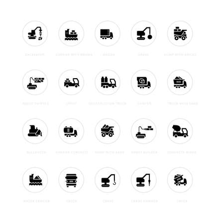 Collection simple icons of construction transport on a white background with names. Modern black and white signs for websites, mobile apps, and concepts