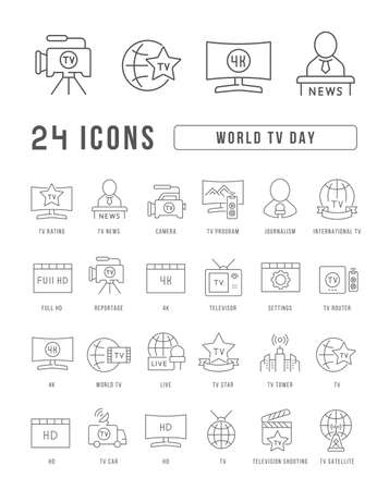 Set vector line thin icons of world tv day in linear design for mobile concepts and web apps. Collection modern infographic pictogram and signs. 矢量图像