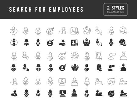 Collection of vector black and white icons of search for employees in simple design for mobile concepts, web and applications. Set modern logos and pictograms.