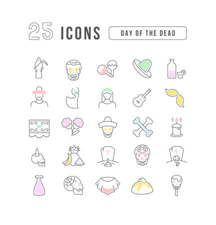 Set vector line thin icons of day of the dead in linear design for mobile concepts and web apps. Collection modern infographic pictogram and signs. 矢量图像
