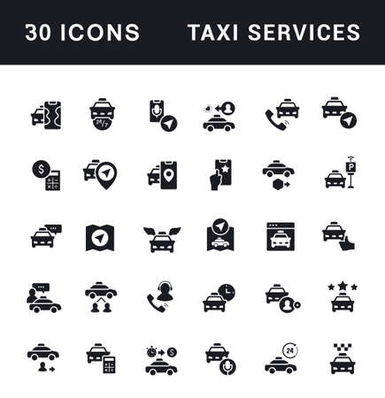 Collection simple icons of taxi services on a white background. Modern black and white signs for websites, mobile apps, and concepts