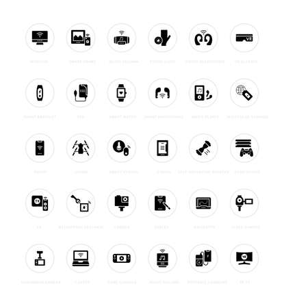 Collection simple icons of modern gadgets on a white background with names. Modern black and white signs for websites, mobile apps, and concepts 矢量图像