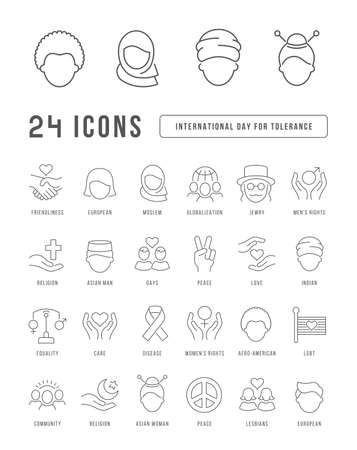 Set vector line thin icons of international tolerance day in linear design for mobile concepts and web apps. Collection modern infographic pictogram and signs.