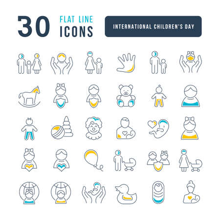Set vector line thin icons of international childrens day in linear design for mobile concepts and web apps. Collection modern infographic pictogram and signs.