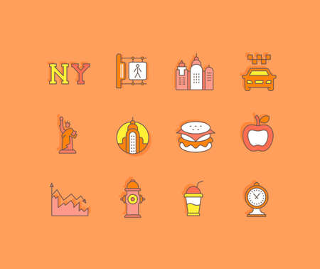 Collection simple icons of new york on an orange background. Modern color signs for websites, mobile apps, and concepts