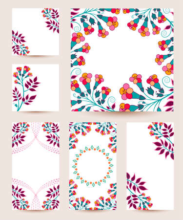 Vector collection of cute and soft greetings cards for any holidays. Isolated templates with flowers and geometric patterns.