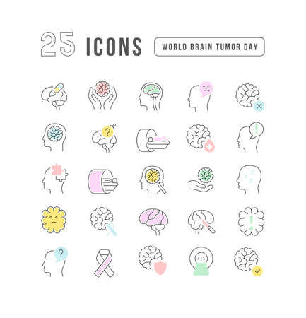 Set vector line thin icons of world brain tumor day in linear design for mobile concepts and web apps. Collection modern infographic pictogram and signs. 矢量图像